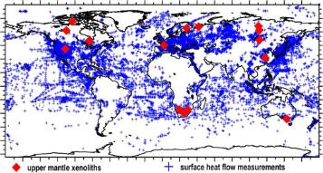 Map of heat flow measurements